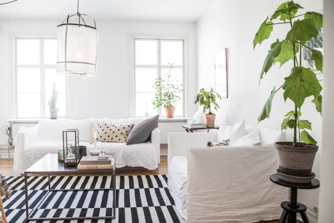 casa lámpara tela blanca 8